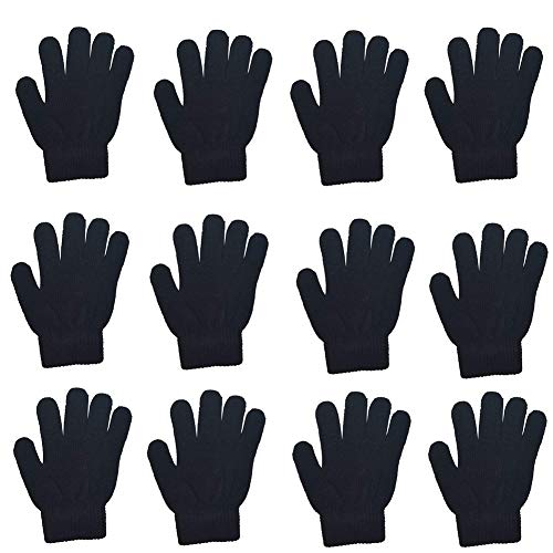 Gloves Childrens Magic (12 Pairs Kids Magic Gloves Teens Winter Stretchy Cashmere Knitted Gloves for Boys Girls (Black))