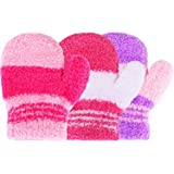 Satinior 3 Pairs Toddler Magic Stretch Mittens Little Girls Soft Knit Mitten Baby Boys Winter Knitted Gloves (0-3 Years Size, Multicolor 18)
