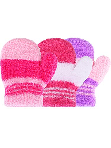 Satinior 3 Pairs Toddler Magic Stretch Mittens Little Girls Soft Knit Mitten Baby Boys Winter Knitted Gloves (1-4 Years Size, Multicolor 18) (Gloves Magic 1)