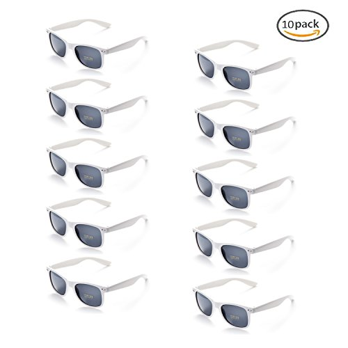 Onnea 100% UV Protection Wholesale Multi Pack Unisex 80'S Retro Style Promotional Sunglasses (White 10-Pack) by Onnea