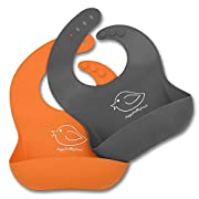 Waterproof Silicone Bib Easily Wipes Clean! Comfortable Soft Baby Bibs Keep Stains Off! Spend Less Time Cleaning after Meals with Babies or Toddlers! Set of 2 Colors (Orange / Gray)