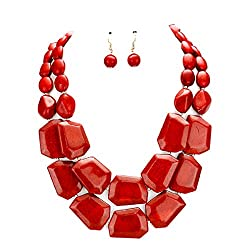 Red Strands Chunky Mixed Beads Necklace Earrings Set