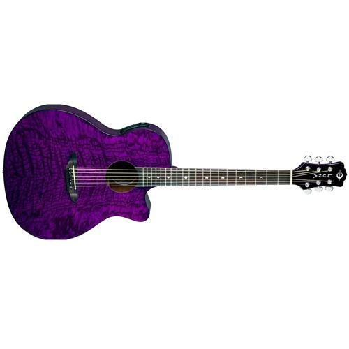 Luna Gypsy Quilt Top Acoustic Electric Guitar, Trans Purple