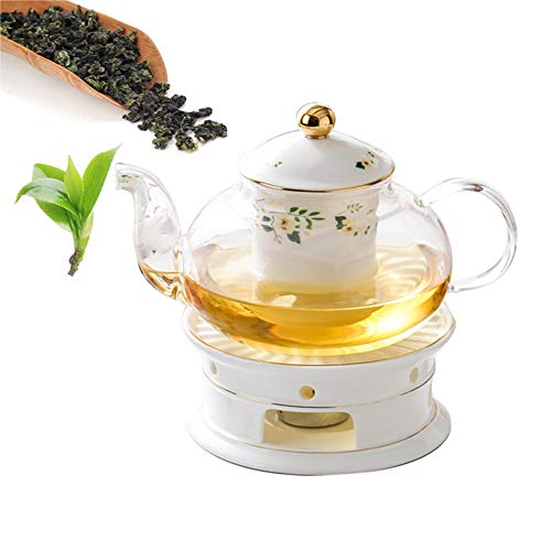 Teapot ceramics filter Infuser,hot & cold water,anti-explosion Heat Resistant Clear kettle,Water storage jar,Green,Jasmine,Flowers,Black Tea,Coffee,milk 720ml With heating candlestick,C