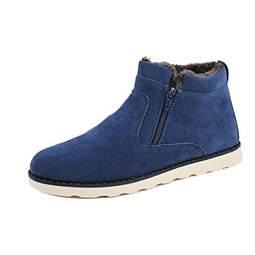 Gaorui Heren Winter Hoge Top Warme Suède Schoen Enkellaars Casual Slip Op Platte Sneaker Blauw