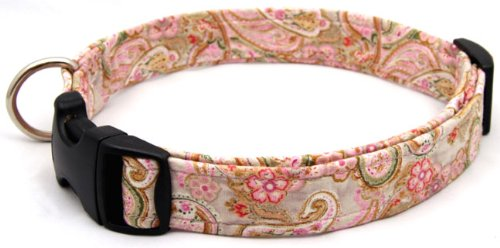 Country Brook Design Lite Pink Paisley Designer Dog Collar-SMALL, My Pet Supplies