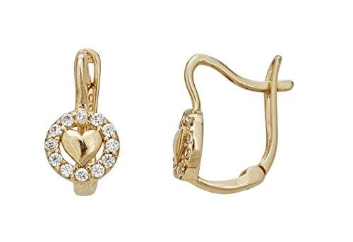14K Yellow Gold Cubic Zirconia Heart Emblem Huggie Earring