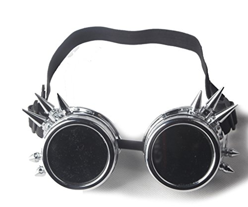 ABS Spiked Cyber Steampunk Glasses Goth Cosplay Goggles Costume Props (Silver) (Cosplay Steampunk Costumes)