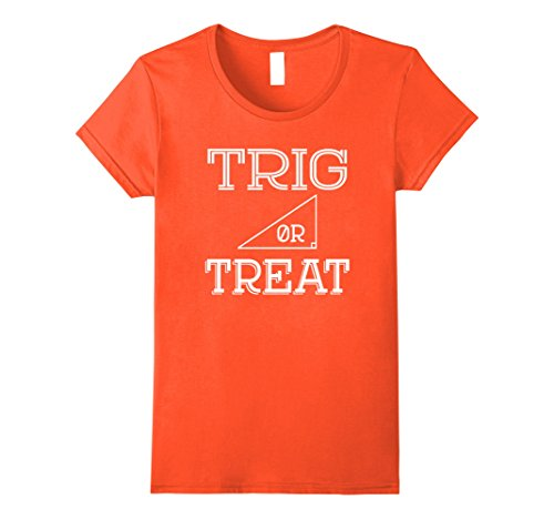 Womens Trig or Treat Halloween Costume Math Teacher Trig T-Shirt XL Orange