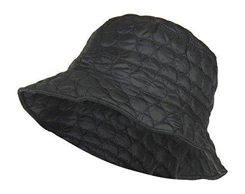 Black Packable Water Repellent Quilted Bucket Rain Hat w/ Adjustable Drawstring