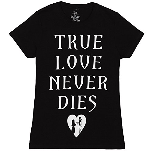 Nightmare Before Christmas True Love Never Dies Juniors T-shirt -Black (Small) - True Love Juniors T-shirt
