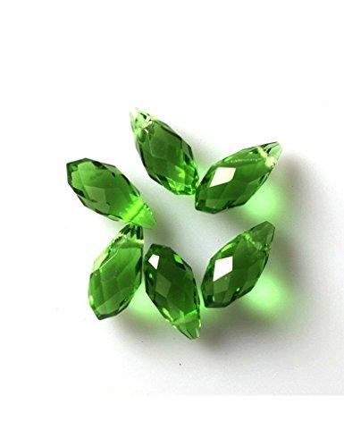 (Ajetex 100pcs 6x12mm Top Drilled Austria Drop Crystal Beads Gemstone Loose Beads Emerald)