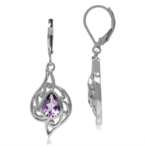 (2.02ct. Natural Amethyst White Gold Plated 925 Sterling Silver Filigree Swirl Leverback Earrings)