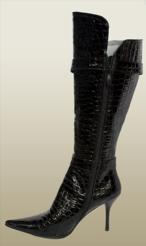 Boots Ladies Womens Envy effect Crocodile high Knee Black heel qwwRCX1xg