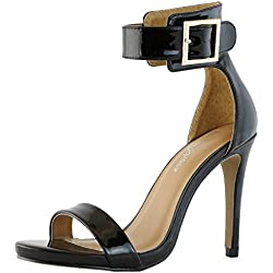DailyShoes Women's Stiletto Heels Open Toe Ankle Buckle Strap Platform High Heel Evening Party Dress Casual Sandal Shoes, Black Patent Leather, 8 B(M) US