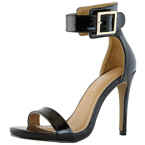 DailyShoes Women's Stiletto Heels Open Toe Ankle Buckle Strap Platform High Heel Evening Party Dress Casual Sandal Shoes, Black Patent Leather, 9 B(M) US