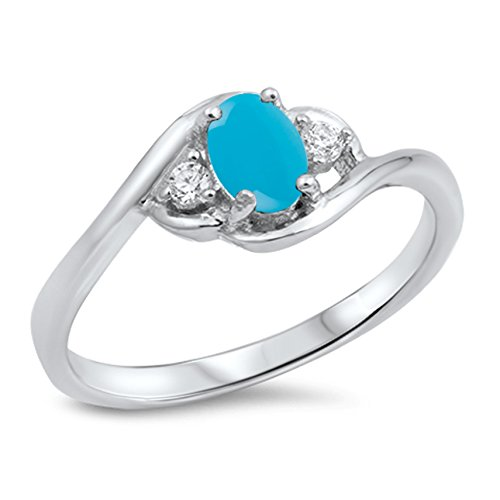 Cabochon Natural Genuine Arizona Blue Turquoise Oval Cluster Ring Size 5 ()