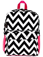 Womens Chevron Backpack Bag w/ Pink Pockets (Black & White)