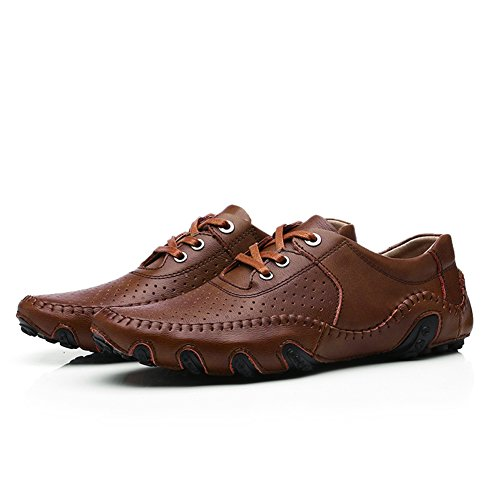 Go Tour Men s Casual Leather Stiching Fashion Walking Driving Shoes Slip-on Loafers Brown-d dsBkbf