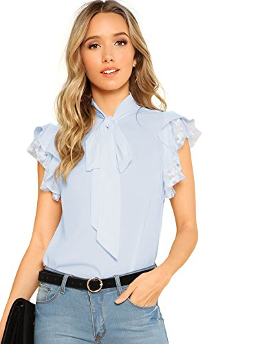 Verdusa Women's Tie Neck Embroidered Contrast Mesh Ruffle Blouse Top Light Blue XXL ()