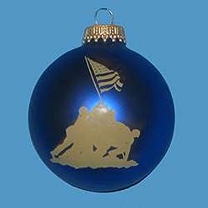 "2.5"" U.S. Marine Corps Glass Ball With Iwo Jima Valor Silhouette Art Decorative Christmas Ornament"