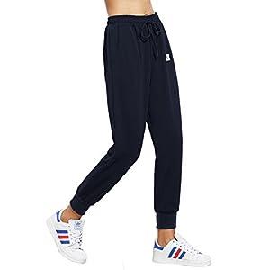 SweatyRocks Women's Sweatpants Yoga Workout Athletic Joggers Pants with Pockets Navy L