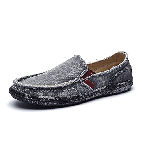 CASMAG Men's Casual Cloth Shoes Canvas Slip-on Loafers Outdoor Leisure Walking Shoes Grey 10.5M US by CASMAG (Image #1)
