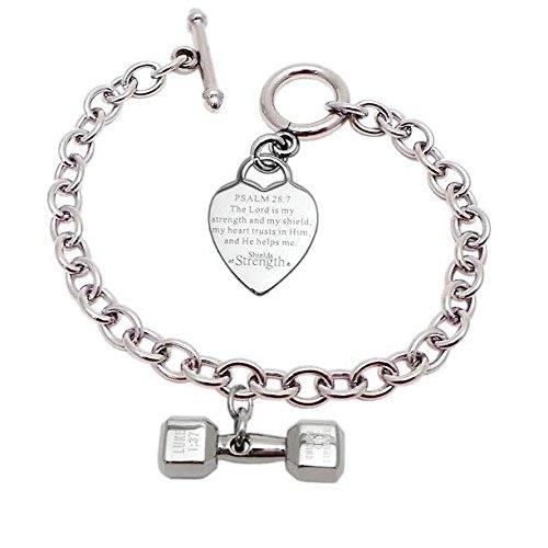 """Stainless Steel Mini Heart Bracelet with Mini Dumbbell-Luke 1:37-""""PAT""""NO.D710,241"""