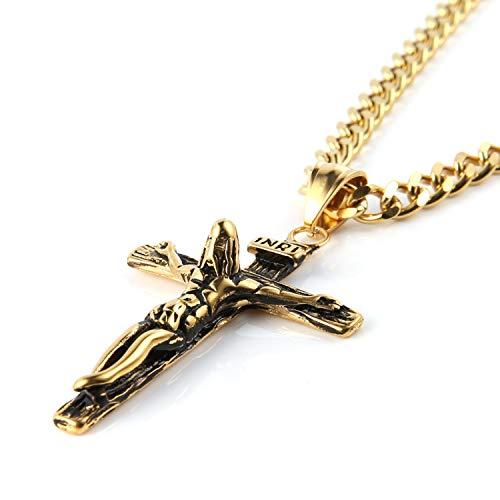HZMAN Men Women Crucifix Cross Pendant Baptism Christian Jewelry Stainless Steel Jesus Necklace with 22+2