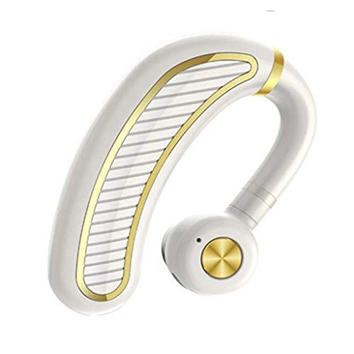 (Sonmer True Wireless Bluetooth Stereo Waterproof Noise Reduction Ear-hook Headphone, Build-in Mic (White))