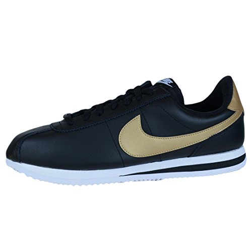 Basic Leather Shoe Black Cortez White Casual Gold NIKE Metallic Men's PEw6qqp