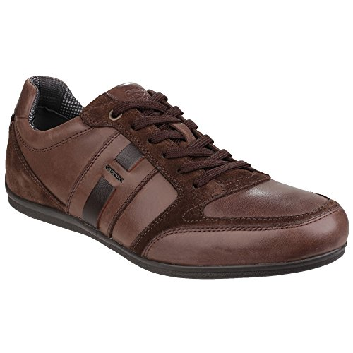 Geox Hombres Houston Lace Up Trainers Marrón Oscuro