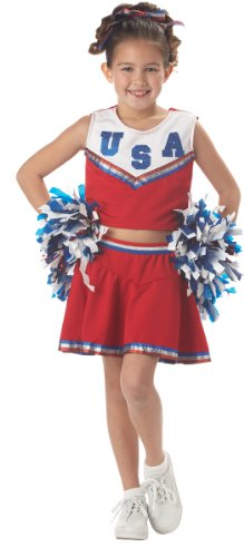 [CHILD Med 8-10 - CHILD RED Patriotic Cheerleader Costume] (Halloween Costumes Of Cheerleaders)