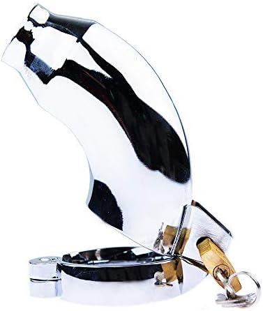 GDX Rostfreier Stahl Keuschheitsschloss Keuchheitsgürtel Metall Entgleisung Penis Lock Anti-Entgleisung Erwachsene Produkte Paar Flirt Spiel Requisiten Entgleisung/Silber / 44mm