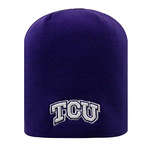 TCU Horned Frogs Purple Cuffless 2-Sided Beanie Hat - NCAA Knit Skull Cap