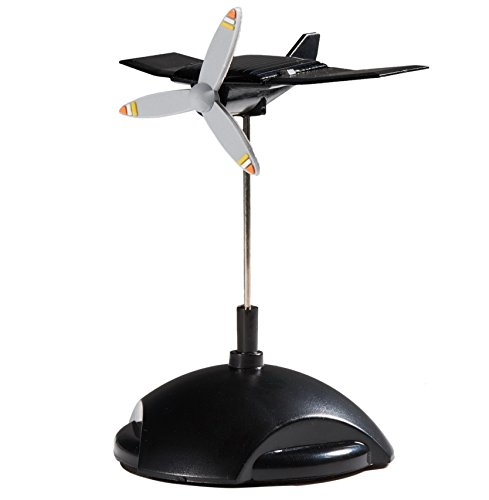 Sunnytech Mini Solar Plane Rotating Propeller Creative Solar Aircraft Ornaments Dynamic Interior Decoration Science Home Office Toy for Desk Physics Toy Solar Car Decoration Kits WJ164 ()