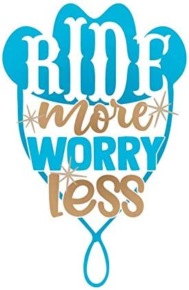 MKS1382 Ride More Worry Less Cowboy Cowgirl Hat Vinyl Decal Sticker One 5.5 Inch Decal Car Truck Van SUV Window Wall Cup Laptop