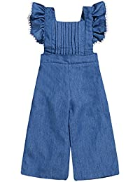 9f69267273aa Toddler Kids Baby Girls Summer Jumpsuits Lace Sleeve Outfit Suspender  Overall Flared Denim Jeans Adjustable Pants