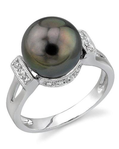 - 10mm Tahitian South Sea Cultured Pearl & Diamond Nicole Ring in 14K Gold