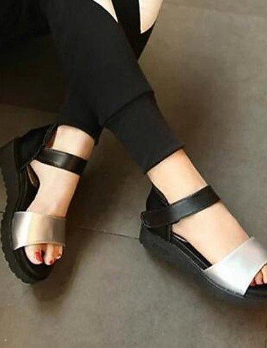 ShangYi Sandaletten für Damen Damenschuhe - Sandalen - Kleid - Kunstleder - Flacher Absatz - Komfort - Schwarz / Weiß / Silber Black