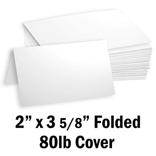 Hamilco White Cardstock Thick Paper Blank Place Tent Folded Business Cards - Greeting Invitations Stationary - 3 5/8 x 2