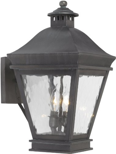 Elk Lighting Landings 2-light Water Glass Outdoor Wall Lantern, Charcoal