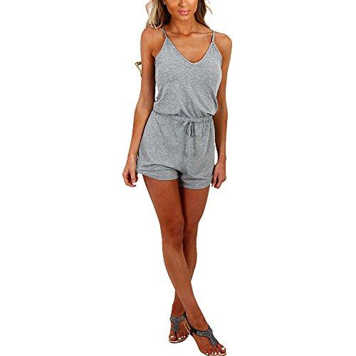 Dreamskull Women Summer Casual Spaghetti Strap Adjustable Waist Drawstring Short Jumpsuit Solid Cami Romper for Girl
