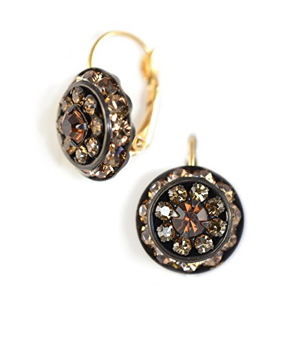 Clara Beau Lt.Brown Combo Swarovski Glass Crystal Cluster Round LeverBack Goldtone Earrings E557 (Homemade Insect Costumes)