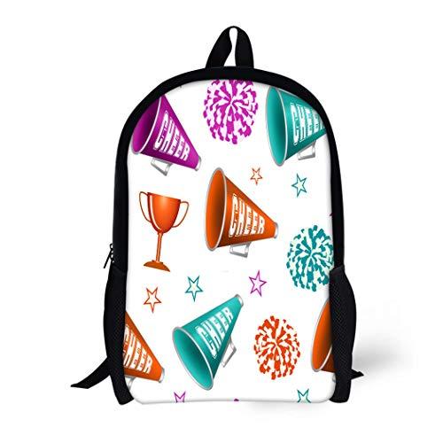 Pinbeam Backpack Travel Daypack Pink Pom Cheerleading Pompoms Cup Stars and Megaphones Waterproof School Bag