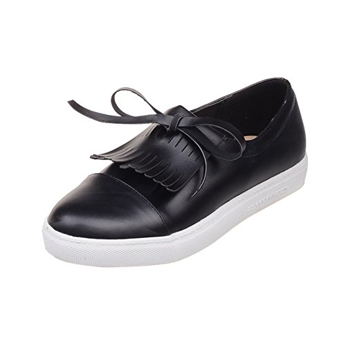 Latasa Womens Fashion Tassel Lace-up Oxford Flats Shoes Black