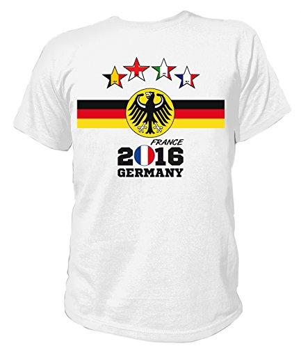 Artdiktat Herren Deutschland Fan T-Shirt - 4 Sterne Europameister 2016 Frankreich - Trikot Ersatz - inkl. Wunschname und Nummer S - 5XL Größe 4XL, weiß