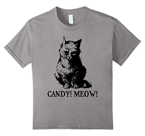 [Kids CANDY! MEOW! Sad Kitten Halloween Costume T-Shirt for Kids 4 Slate] (Mean Girls Costume Group)