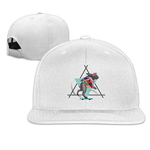 Funny Running Racing Skid Bunny Rabbit Flower Adjustable Cotton Hat Unisex Hip Hop Baseball Caps White