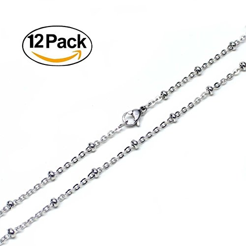 Wholesale 12 PCS Stainless Steel Beaded Chain Satellite Chains Necklace Bulk for Jewelry Making 18-30 Inches (20 Inch(2MM)) (Steel Chain Stainless Wholesale)